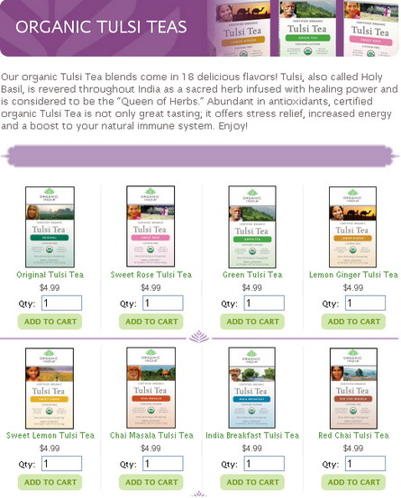 Tulsi Tea Flavors